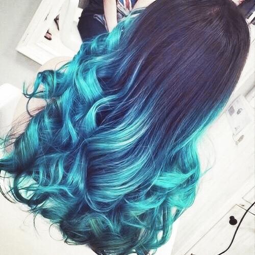 kék ombre haj
