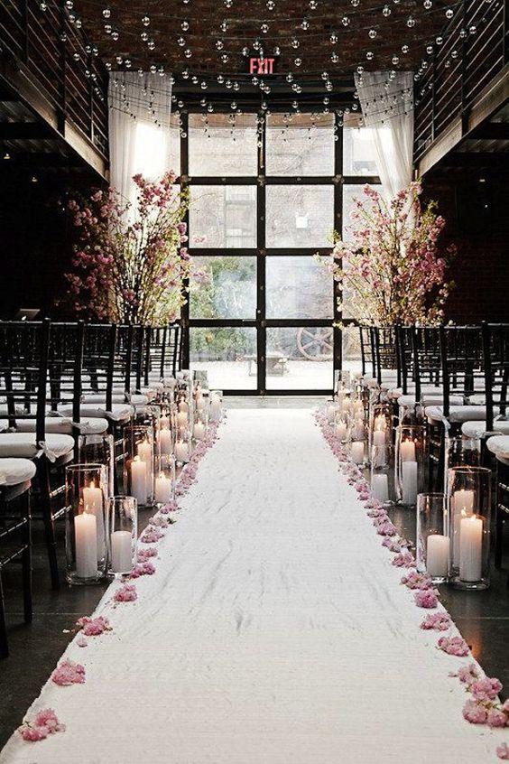 téli esküvői dekoráció bevonuláshoz