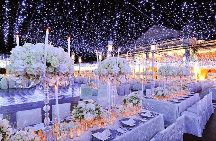 gyönyörű téli esküvői dekoráció
