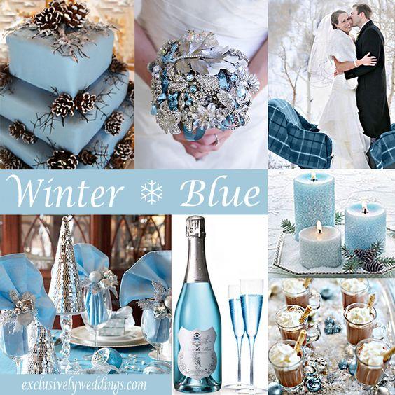 téli esküvői hangulatkép kék színnel