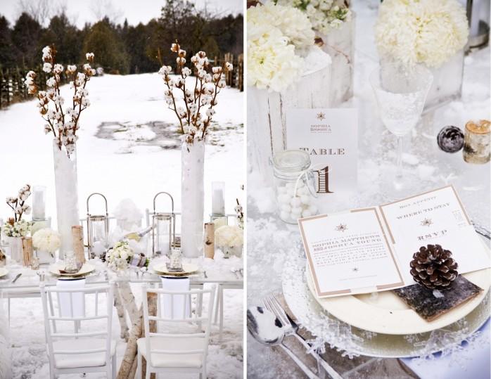 téli esküvői dekoráció fehér