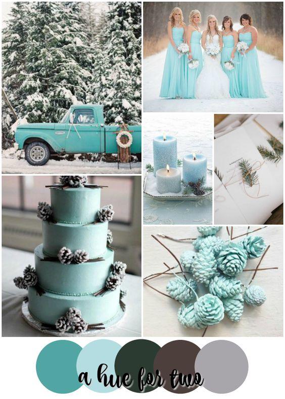 kék téli esküvői dekoráció